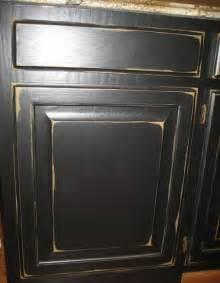 Distressed Black Kitchen Cabinets Cabinet Refinishing