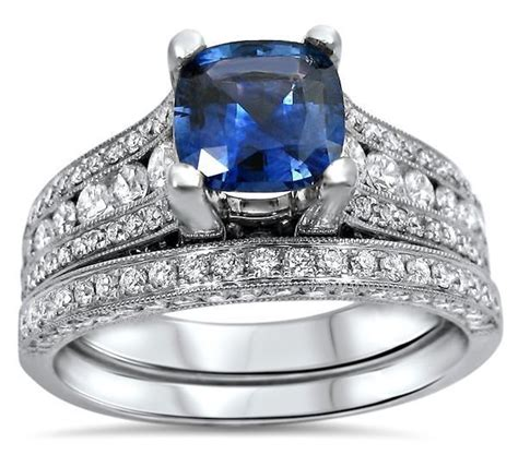 Blue Sapphire 8 30ct 3 30ct cushion cut blue sapphire and engagement
