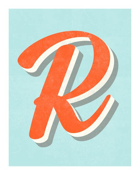 printable typography art the letter r original art print typography alphabet