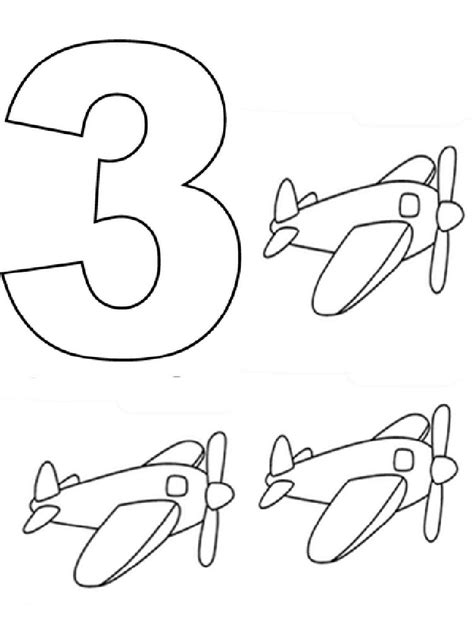 Coloring Page Number 3 by 123 Numbers Coloring Pages And Print 123 Numbers