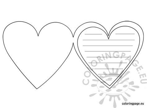 cards of hearts template card template coloring page