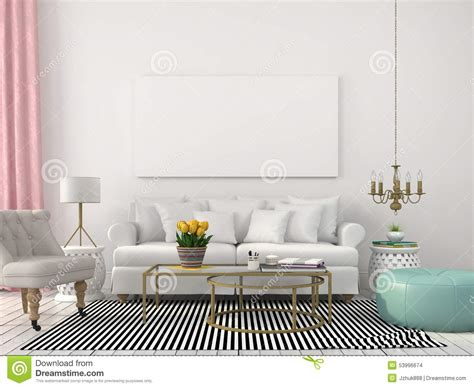 interior furnishing light living room in white and pastel colors stock photo image 53996674