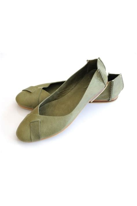 olive green flat shoes olive green leather flats quot ballet flats quot by