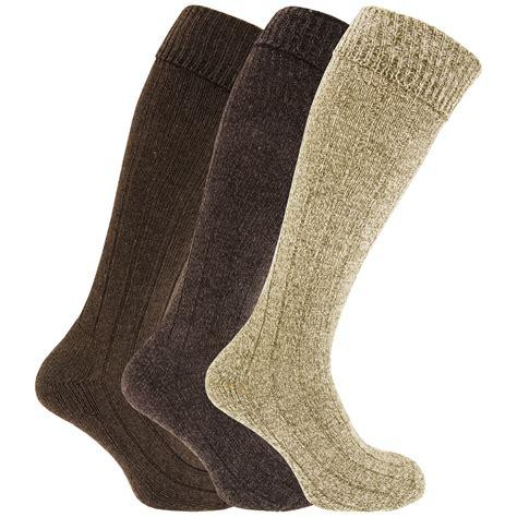mens knee high chunky thermal wool boot socks pack of 3