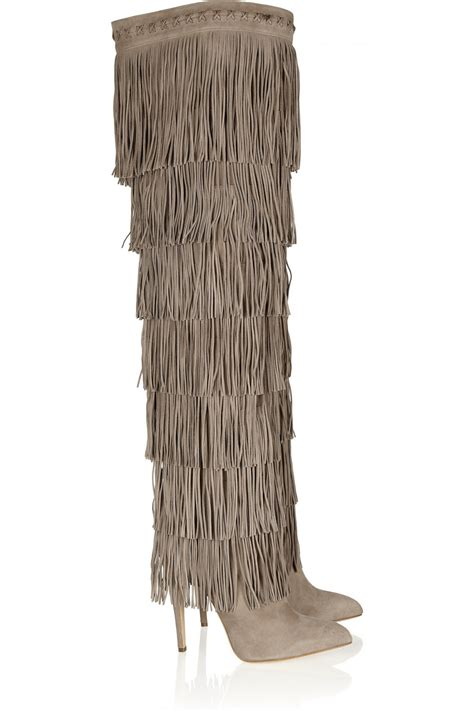 suede fringe knee high boots heels cowboy sexyshoeswoman