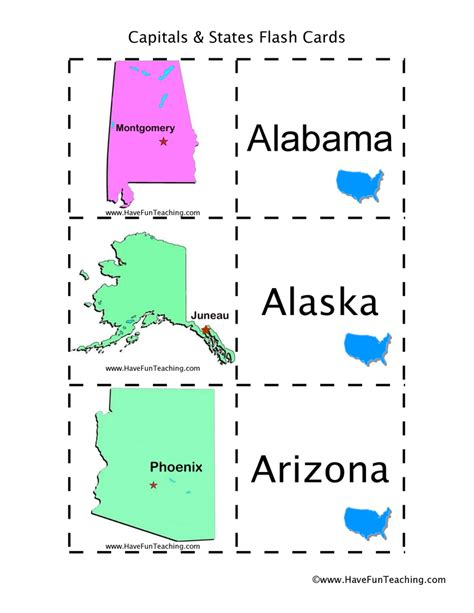 printable flash cards of states and capitals social studies flash cards have fun teaching