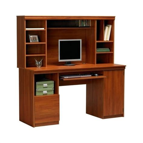 wood computer desks with hutch 58 quot wood computer desk with hutch in expert plum 9112083st