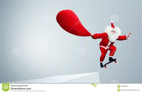 Santa Claus Jumping With Skateboard Stock Photo Image Click Santa Claus Skateboard