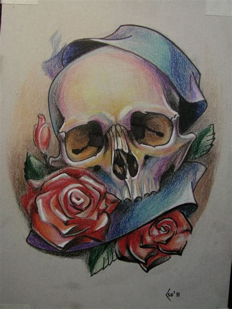 skull and flowers tattoos school design