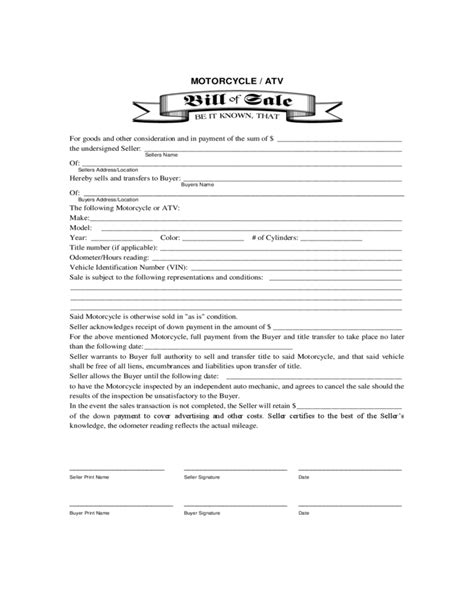 motorcycle sale contract template motorcycle or atv bill of sale form free