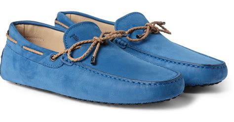 tod s gommino nubuck leather driving shoes in blue for