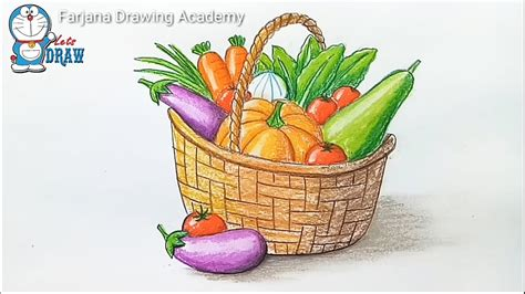 vegetarian baskets how to draw vegetables basket step by step