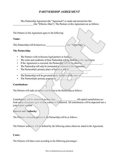 articles of partnership template partnership agreement template real estate forms