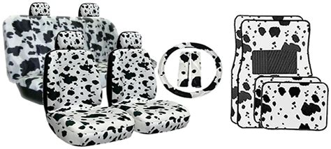 cowhide seat covers cow print universal fit lowback seat covers floor mats