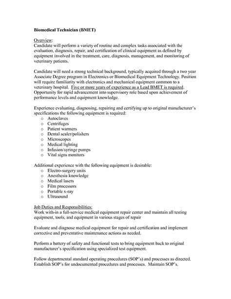 Resume Sle For Dialysis Equipment Mechanic Sle Resume Word Invitation Template Free