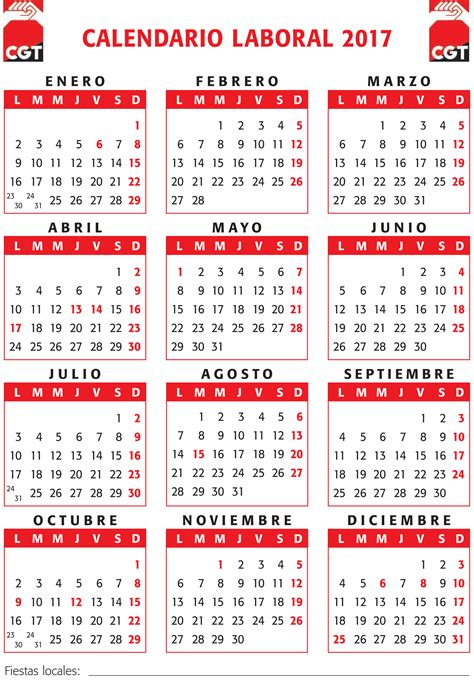 Calendario Laboral 2017 Madrid Capital Calendario Laboral 2017 Cgt Val 232 Ncia