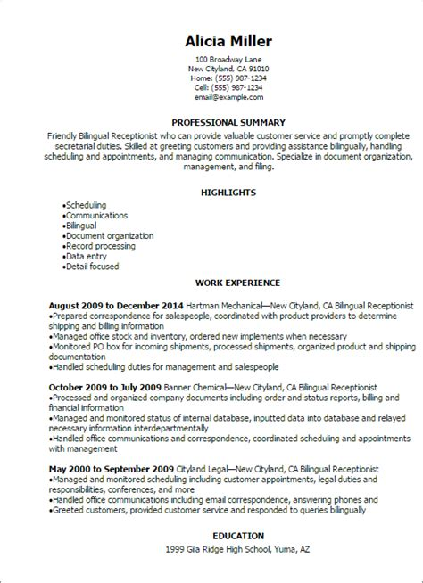Resume Sles For Bilingual Receptionist Professional Bilingual Receptionist Resume Templates To Showcase Your Talent Myperfectresume