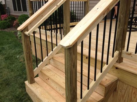 Graspable Handrail black aluminum spindles and graspable handrail wood decks black and ideas