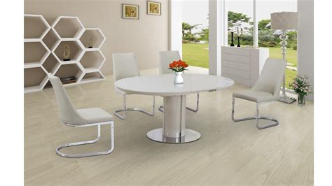 Glass Dining Table And 6 Cream Chairs Extending Round Cream High Gloss Glass Dining Table And 6