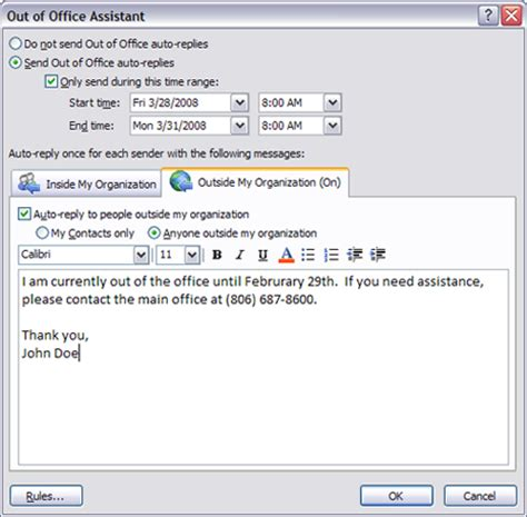 Out Of Office Message by And External Messages In Outlook 2007 Out Of