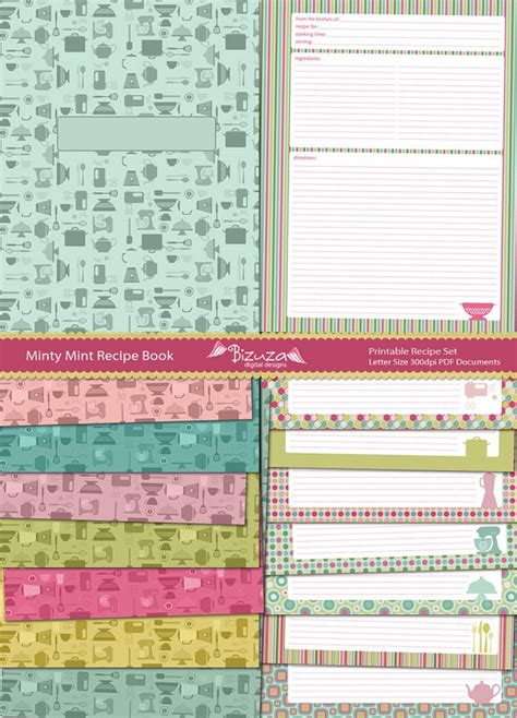 printable recipe binder set editable pdf cookbook recipe