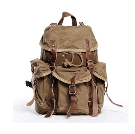 Handmade Rucksack - s handmade vintage leather canvas backpack