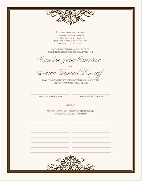 commemorative certificate template vintage wedding certificate emerson wedding document