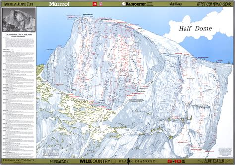 dome map half dome climbing maps poster productions