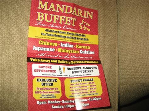 offers prices picture of mandarin buffet bangor