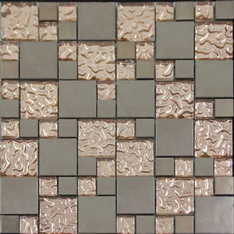 Copper Glass And Porcelain Square Mosaic Tile Designs Kitchen Wall Tiles Designs