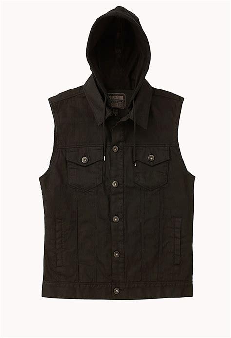 Hooded Denim Vest forever 21 hooded denim vest in black for lyst