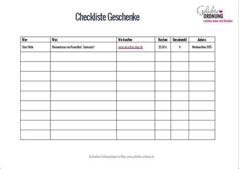 Checkliste Weihnachtsgeschenke (kostenloser Download