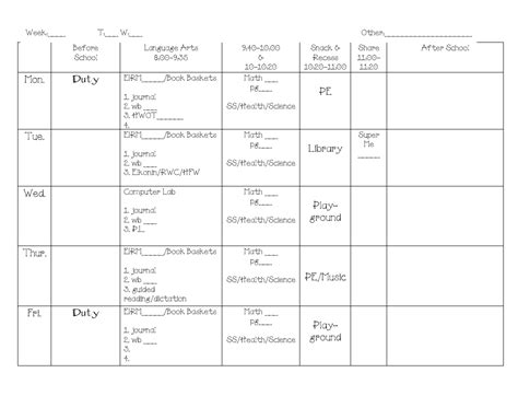 kindergarten timetable template daily schedule template