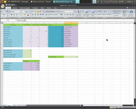 tabla de calificaciones rebeca chac 243 n excel tabla de calificaciones