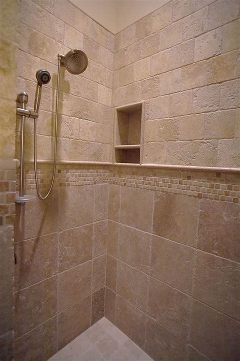 travertine tile shower coastal homes