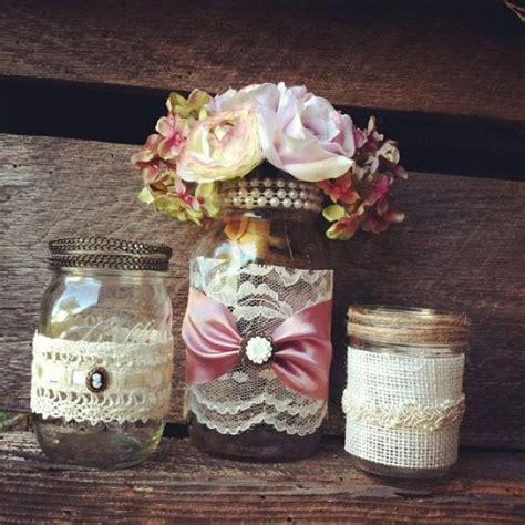 Burlap And Lace Mason Jar Vases Vintage Style Lace Mason