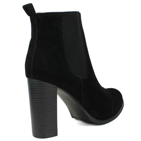 benson 02 black suede chunky heel ankle boots