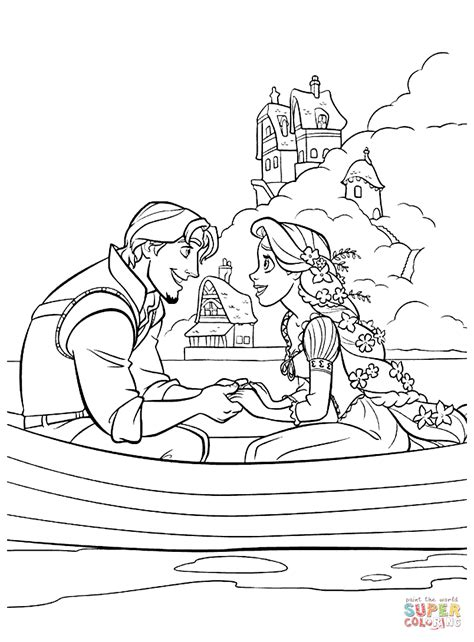 tangled coloring pages games flynn rider and rapunzel coloring page free printable