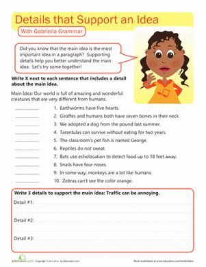 printable worksheets main idea and supporting details writing workout supporting the main idea worksheet