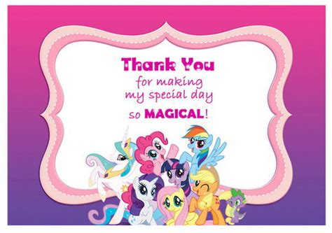 my pony thank you card template my pony thank you cards birthday printable