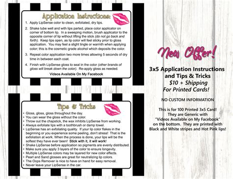 card techniques and tips printed lipsense application and tips 3x5 cards 100 cards