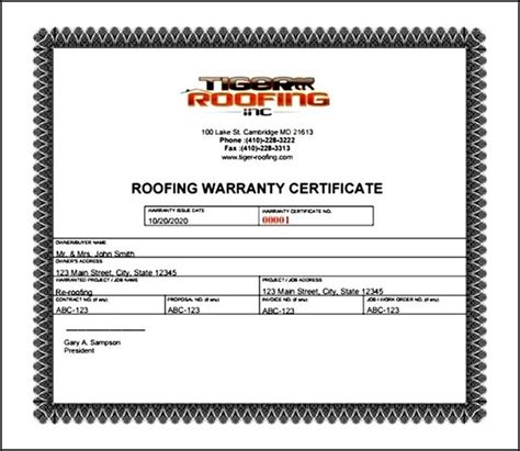 Guarantee Certificate Letter Warranty Certificate Template Free Sle Templates