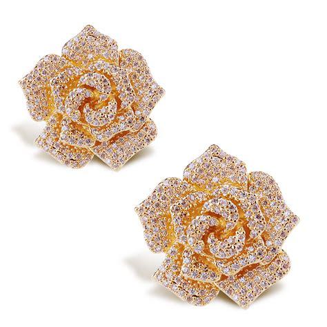 flower design ear studs rose flower earrings top quality cubic zircon women flower