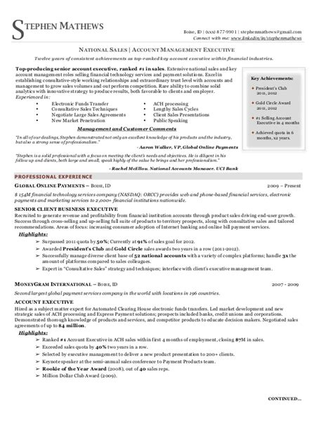 free resume sles for executives national sales executive resume