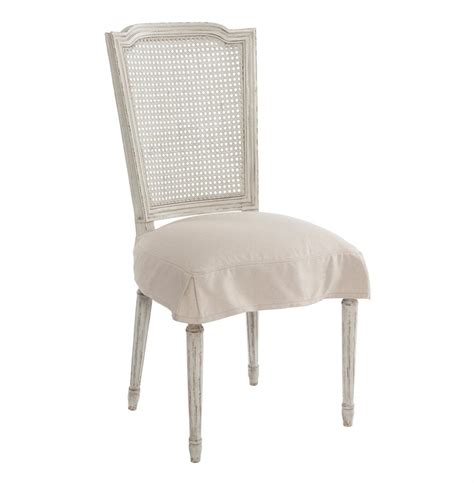 pair french country antique white slip cover dining chair