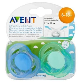 Philips Avent Soother 6 18m Single Free Flow Blue philips avent orthodontic soother free flow 6 18m