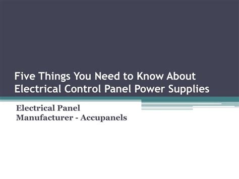 5 Things You Need To At The by Ppt Five Things You Need To About Electrical