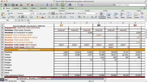 Excel Roi Template by Social Media Roi Dashboard Excel Template