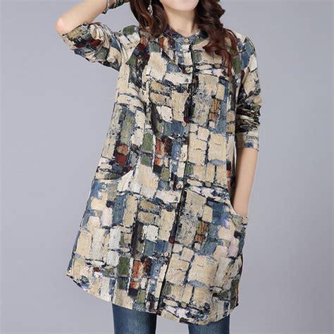 Nyno Tunic Tunik Top Blouse Hq 2016 summer ethnic cardigan tops and blouses kimono plus size clothing linen