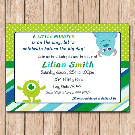Inc Baby Shower Invitations by Mini Monsters Inc Baby Shower Invitation 1 00 Each Printed